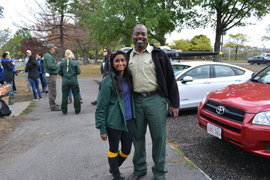 Rani Jacobson '14 and Jessie Scott, urban connections program coordinator for the USDA Forest Service in Boston
