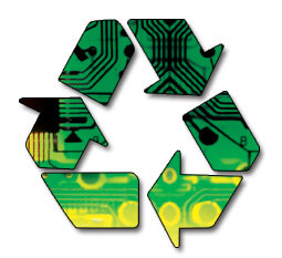 Reduce, Reuse, Recycle logo imprinted with a microchip design.