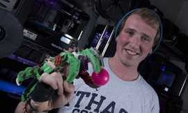 Ryan Bouricius '17, used a 3D printer to create a prosthetic hand. Photo by Giovanni Santacroce.