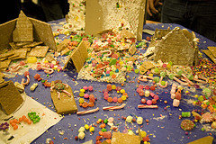 """SOS"" gingerbread house"