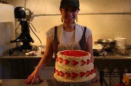 Samantha Abrams '08 in the Emmy's Organics kitchen