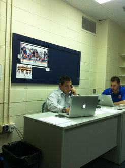 Samuel Gelman '13 working at New York Islanders offices