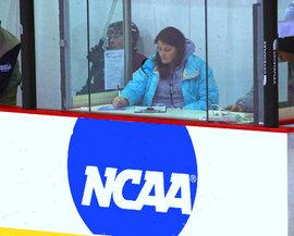 Sarah Dull '08 working a Harvard women's hockey game