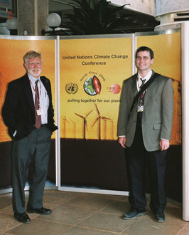 Sean Vormwald '01, M.S. '07 and [now retired] anthropology professor Garry Thomas attened the UN Climate Conference in Kenya in 2006