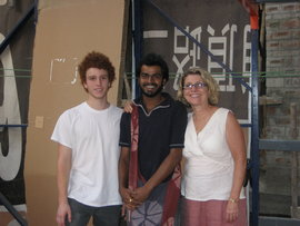 Sean Zimmermann Auyash, Sitthyat Pillai, and Patricia Zimmermann at Jaaga in Bangalore India