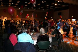 Seniors and students alike dancing at the Intergenerational Prom.
