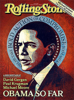 Shepard Fairey, Cover Rolling Stone [Based on a photograph by Pablo Martinez Monsivals/AP Images] (August 20, 2009 issue)