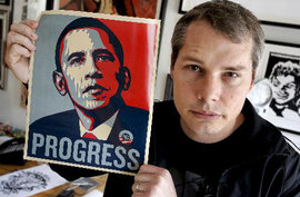 "Shepard Fairey and his ""Progress"" Poster (http://www.bloomberg.com)"