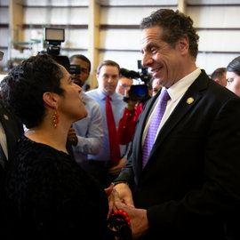 Shirley M. Collado speaking to Andrew Cuomo