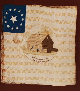 Silk Campaign Flag Banner for Harrison (1840) (Heritage Auctions, Inc.)