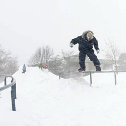 Snowboarding on campus. Photo by Jeff Goodwin '10