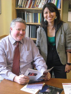 Split Oak editor Jim Stafford and intern Reina Argueza '10