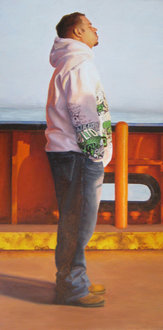 """Staten Island Ferry Moment #2,"" second place fine art, by Dina Anchin '06 (oil on canvas, 12"" x 24"")"