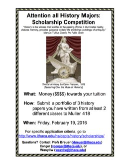 Student Scholarship Competition for the coming year -- papers due February 19th!
