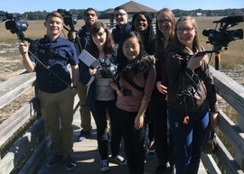 Student journalists in South Carolina. Sara Kim '17 is in the center.