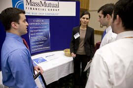 Students and visitors at the spring job fair