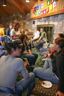 Students attend Chocolate in the Chapel, an LGBT campus social event held last September.
