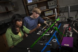 Students create supercold atoms with a magneto-optical trap.