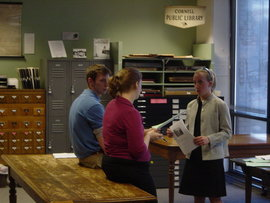 Students discussing research at the History Center inTompkins County