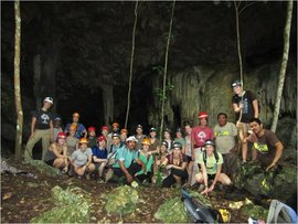 Students from the Rainforests, Reefs and Ruins class outside of a cave in Belize.