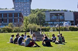 Students gather for class on a sunny day.
