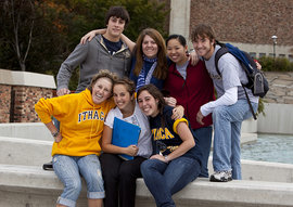 Students gathered by the Dillingham fountains