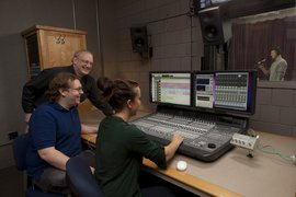Students get hands-on experience in an audio production class.