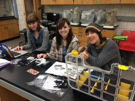 Students in Applied Environmental Technologies working on robotics