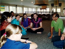 "Students in the ""Representing South Asia"" course visit a Hindu temple in Rochester, NY"