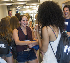 Students meet each other at orientation