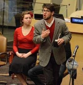 Students performing with IC Teatro at the United Nations.