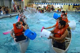 Students play intramural battleship in the A&E Center Pool