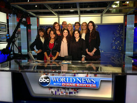 Students pose at World News with Diane Sawyer