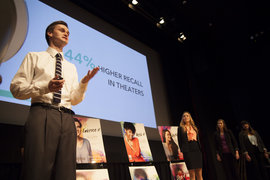 Students present their Ad Lab campaign in New York City.