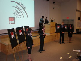 Students presenting their Ad Lab campaign in New York City.