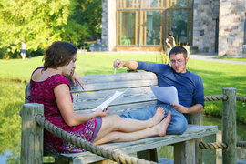Students studying outside Muller Chapel