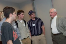 Students talking with baseball hall of famer Earl Weaver in Cooperstown.