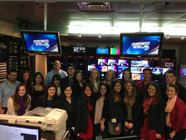 Students visit ABC News. Pictured with IC alumni: David Muir, Revital Roza, Jessica Polizzi, Jared Wiener, Hannah Coulson, and Jim Wolan.