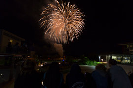 Students watch fireworks