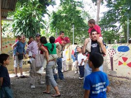 Students working at a school in Guarbo