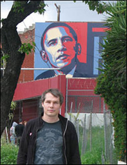 Studio Number One, Shepard Fairey and One of His Obama Posters, 2008