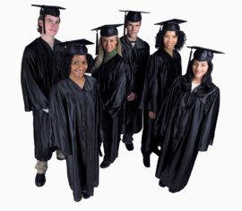 Successful students in caps and gowns.
