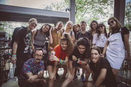 Suzanna Slavin '13 (in dog T-shirt) with the band Hinds at SXSW. Photo submitted