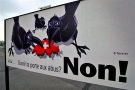 Swiss People's Party poster/billboard, 2009 (Photo:Fabrice Coffrini/AFP)
