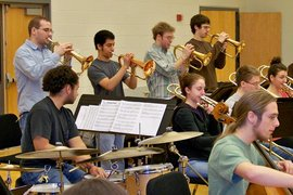 The Ithaca College Jazz Ensemble in rehearsal