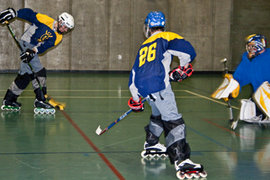 The Ithaca roller hockey team practices in the Fitness Center.