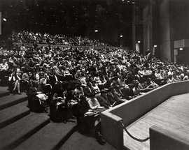 "The January 1969 audience for one of 1st performances in the Hoerner Theatre in Dillingham Center, ""Enrico IV"", by Luigi Pirandello."