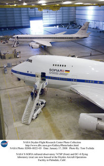The SOFIA aircraft parked in its hangar at the NASA Dryden Aircraft Operations Facilty in Palmdale, CA.