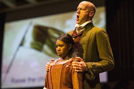 The Wolf by the Ears starred Zachary James '05 as Thomas Jefferson and Cherisse Williams '17 as Sally Hemings. Photo by Durst Breneiser '15