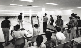 The bowling lanes in Hill Center, circa 1960s, where later Ed Tobias took bowling classes to avoid winter morning swimming.